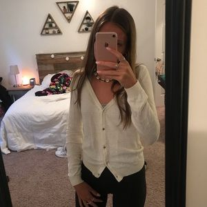 h&m white button up cardigan